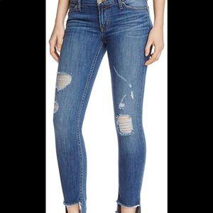 Hudson Muse crop distressed step hem jeans
